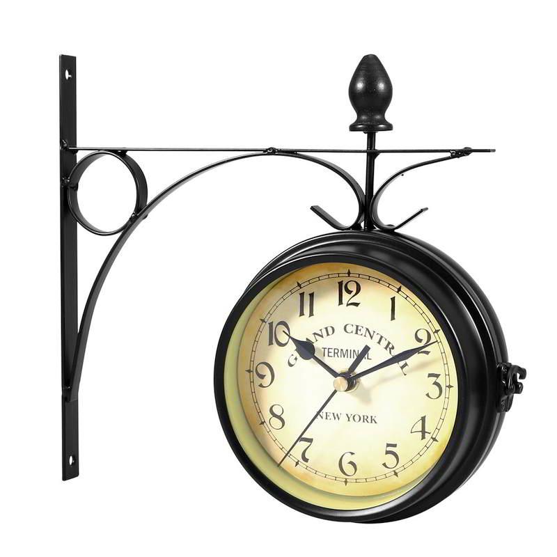 Reloj de pared estilo retro, doble cara
